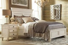 Master Bedroom White Marsilona Queen Panel Bed View 3 Ashley Furniture
