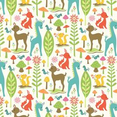 'Woodland Tails' is a super cute new fabric collection designed by Sherri McCulley for Riley Blake. The design features woodland creatures - deer, squirrel, owl, squirrel and more in three colorways.