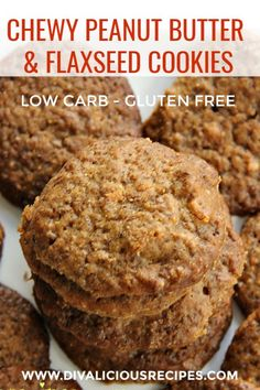 Butter & Flaxseed Cookie Chewy low carb cookies made with peanut butter and golden flaxseed. Chewy low carb cookies made with peanut butter and golden flaxseed. Keto Foods, Keto Snacks, Healthy Low Carb Snacks, Diabetic Snacks, Healthy Salads, Nutritious Meals, Low Carb Desserts, Low Carb Recipes, Peanut Recipes