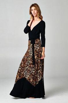 Tiger Print Maxi Wrap Dress | USTrendy