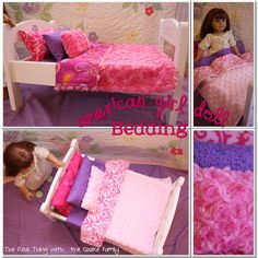 Free American Girl Doll bedding pattern. Very simple sewing pattern that you can easily re-size for any size doll bed. #RealCoake #AmericanGirlDoll #AGDoll #Sewing #SewingPatterns #DollPatterns