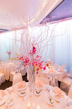 White Curly willow with BOM orchids