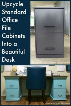 Upcycle standard office file cabinets into the base for a beautiful desk…