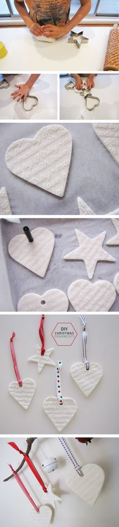 How to make white clay christmas ornaments | TOMFO This white clay dough uses 3 ingredients, cornstarch and baking soda and makes brilliant white ornaments. Check out the personalised rolling pin too, it's divine. The perfect alternative to salt dough ornaments and so much whiter.