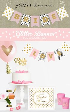 Pink and Gold Glitter Bridal Shower Banner Decorations will sparkle! These Bride to Be Banners in a blush pink and gold wedding color scheme - custom so you can choose the letters or wording - even hang a Mr and Mrs version on reception chairs! These banners make very stylish decorations for your black, pink or mint and gold Wedding or Shower. Glitter Banners are customized with your text and precut and come with gold glitter letters that are self sticking. Banners can be personalized with…