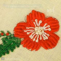 A beautiful Brazilian lazy daisy stitch flower design Brazilian Embroidery Stitches, Hand Embroidery Videos, Hand Embroidery Flowers, Embroidery Stitches Tutorial, Flower Embroidery Designs, Creative Embroidery, Simple Embroidery, Sewing Stitches, Silk Ribbon Embroidery