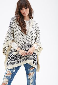 Diamond Pattern Poncho | FOREVER21 - 2000117882
