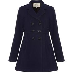 Yumi Coat with Piping ($59) ❤ liked on Polyvore featuring outerwear, coats, jackets, coats & jackets, coats / parkas, navy, sale, blue double breasted coat, double breasted coat and navy blue coat