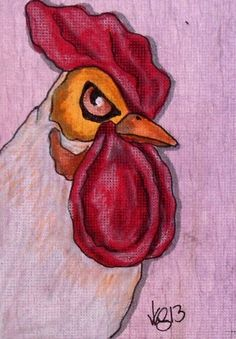 ACEO ANGRY ROOSTER ON EBAY
