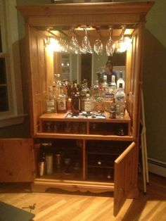 Ess- und Wohnzimmer Refurbished TV armoire to wine/mini bar cabinet How to build a water pond ! Armoire Bar, Home Bar Cabinet, Liquor Cabinet, Drinks Cabinet, Bar Furniture, Refurbished Furniture, Repurposed Furniture, Furniture Makeover, Refurbished Cabinets
