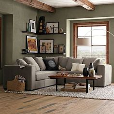 Nice sage color for living room with light charcoal couch