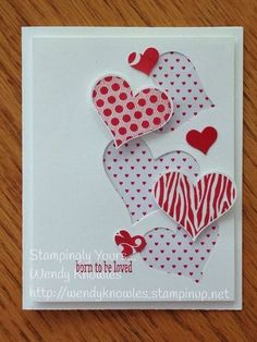 Handmade Valentine Card you could easily make this with the current Heart Happiness stamp set  and the Sweet & sassy framelits dies by Stampin Up