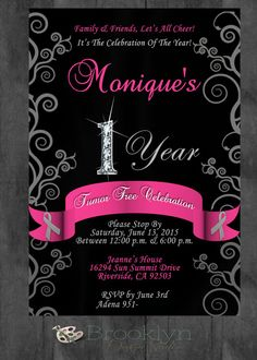 Cancer Free Celebration Party Invitation  by BrooklynDesignStudio
