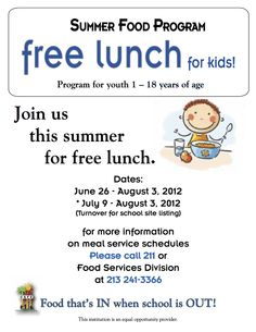 FREE FOOD @ LAUSD Schools over the summer.  Please share and make sure no students go hungry! Click on pic for list of schools!