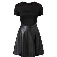 Black Leather-Look Contrast Skater Dress featuring polyvore women's fashion clothing dresses vestido robes short dresses evening wear dresses fit and flare mini dress mini dress short mini dress