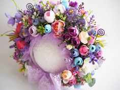 Flower bonnet /sitter 🌸🌸🌸 ********************************************* #flowerbonnet #sitterbonnet #pastel #spring #photoprops #colors… Floral Wreath, Wreaths, Flowers, Home Decor, Floral Crown, Decoration Home, Door Wreaths, Room Decor, Deco Mesh Wreaths
