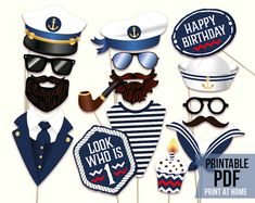 Sea and ship photo booth props for nautical first birthday. Boy birthday party photography decorations. Captain and sailor hats, anchor, signs and much more!