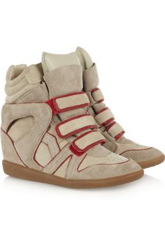 ISABEL MARANT The Bekket high-top suede sneakers, stylish even during gym time! Isabel Marant, Wedge Sneakers, High Top Sneakers, Alexander Mcqueen Bracelet, Baskets, Sneakers For Sale, Jeans Skinny, Beige, Luxury Shoes