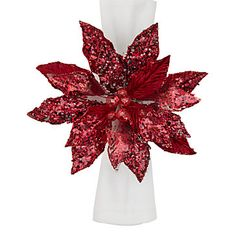Poinsettia Napkin Ring  Could one recreate with silk / sparkles and lacquer?