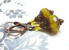 """Ohrhänger - Vintage """"Saffron Light"""" Ohrringe - ein Designerstück von…"""