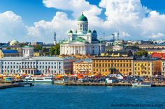 Helsinki Cathedral on a sunny summer day in Finland. Seen from the Helsinki shore of the Baltic Sea. Visit Helsinki, Finland Travel, Lappland, Cities In Europe, Roadtrip, Countries Of The World, Lonely Planet, Day Trips, Travel Destinations