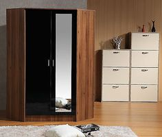 High #gloss furniture - 2 door #corner #wardrobe with 10 shelves & 2 hanging rail,  View more on the LINK: http://www.zeppy.io/product/gb/2/371723847603/