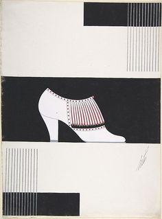 Легендарный Эрте, прославившийся именно как модный иллюстратор 1920-30-х годов, помимо обложек для Harper's Bazaar создавал также и эскизы для некоторых предметов одежды и аксессуаров. Например, так выглядели эскизы Эрте для обуви начала 1930-х годов.