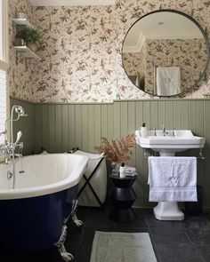 Tongue and groove painted in Treron by farrow and ball. Cole and son Hummingbirds wallpaper. Round mirror in bathroom. Bathroom Spa, White Bathroom, Modern Bathroom, Small Bathroom, Small Country Bathrooms, Bathroom Ideas, Bathroom Vintage, Bathroom Marble, Glass Bathroom