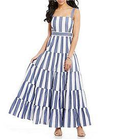 8d197732900 Eliza J Sleeveless Striped Tiered Maxi Dress Daytime Dresses