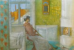Martina by the Fire by Carl Larsson