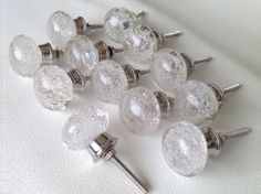 Clear Glass Bubble Cabinet Knob Seconds Lot of 12