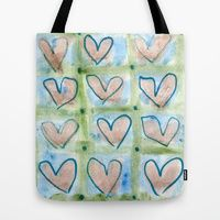Hearts In The Window Tote Bags by #ArtsyCrafteryStudio | Society6, Valentine's Day, love, romance, blue, green, peach color