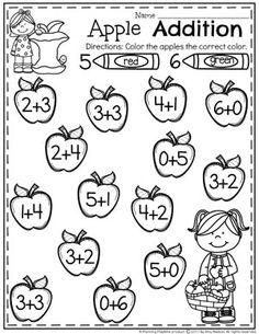 Apple Addition Worksheets for Kindergarten. What is the sum 5 or 6 Kindergarten Addition Worksheets, School Worksheets, Preschool Math, Math Activities For Kindergarten, 1st Grade Math, Math For Kids, Homeschool, Classroom, Teaching
