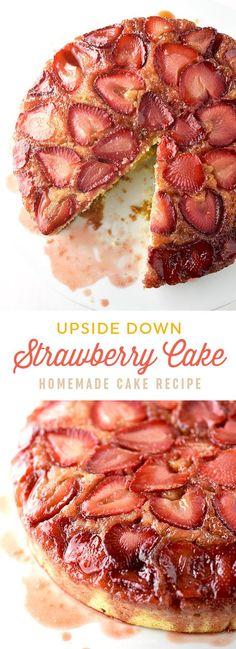 Elena Abschied.... Easy Strawberry Upside Down Cake Recipe | shewearsmanyhats.com