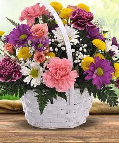 This spectacular spring basket is overflowing with invigorating pastel blooms. Soft spring favorites include pink and purple carnations with delightful daisies, button pompoms and more! Get Well Flowers, Fresh Flowers, Spring Flowers, Beautiful Flowers, Basket Flower Arrangements, Floral Arrangements, Flower Basket, Flower Pots, Purple Carnations