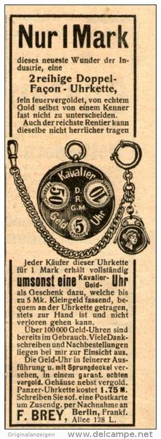 Original-Werbung/ Anzeige 1909 - UHRKETTE / KAVALIER - GELD - UHR / BREY BERLIN - ca. 45 x 120 mm
