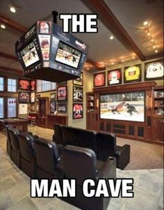 How can you not love this cave. It's got that sports bar feel in the comfort of your own home. Make sure to follow us for more pins of amazing man caves like this one.