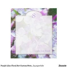 Purple Lilac Floral Art Custom Notepad can be customized with a monogram initial for mom or yourself! Design by PaperLake on www.zazzle.com/paperlake*/.