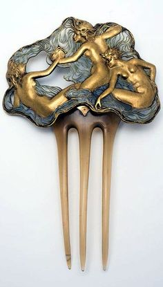 "perfectlyimperfectcarol: ""René Lalique, 'Three Nymphs' hair comb of blonde horn, enamel and gold. Circa Hamburg, Museum für Kunst und Gewerbe Hamburg The three beautiful nymphs and minor."