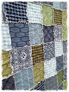 Rag Quilt  Queen Size  Curious Nature by Parson by DelilahKaye, $360.00