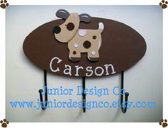 Puppy Wall Hooks - For a Little Girls or Boys Nursery Bathroom or Bedroom. $22.99, via Etsy.