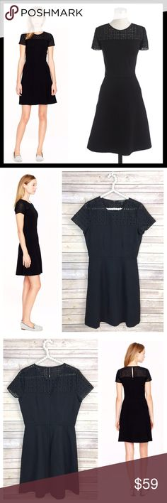 """j. crew // stretch eyelet lace yoke dress • black Meet your new, ultra-flattering little black dress with sheer eyelet at the neckline—it's what we're wearing on those running-late mornings and last-minute date nights. Rayon/nylon with a hint of stretch. Back zip. Keyhole with hook-and-eye closure. A-line silhouette. Falls above knee, 36 1/2"""" from high point of shoulder. Excellent condition, no flaws to note. J. Crew Dresses Mini"""