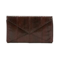 Beirn Espresso striped snakeskin 'V2' envelope clutch ($84) ❤ liked on Polyvore featuring bags, handbags, clutches, espresso, brown purse, python handbag, lightweight handbags, brown envelope clutch and envelope clutch bag
