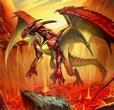 dragon-dungeon: Scarlet Dragon by el-grimlock Fire Dragon, Dragon Art, Monster Hunter, Fantasy Creatures, Mythical Creatures, High Fantasy, Fantasy Art, Cool Dragons, Dragon's Lair
