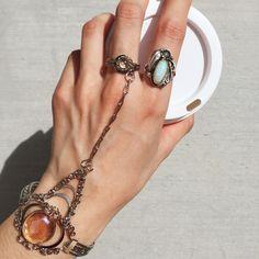 Lucite Stone Chain Slave Bracelet & Navajo Opal Silver Leaf Ring available at MADEFABULOUS.COM! #jewelry #jewellery #rings #bohemian #slavebracelet #accessories #navajo #nativeamericanjewelry #opal #sterlingsilver #festival #womensfashion #fashion #madefabulous