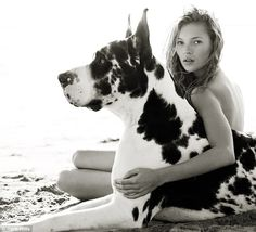 Kate Moss with a harlequin great dane    Vogue, June 1997 by Herb Ritts