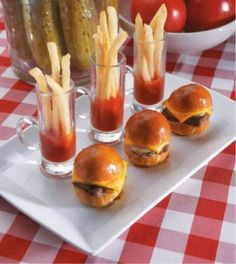 "Mini ""fun bun"" burgers and some fries! So cute and yummy!"
