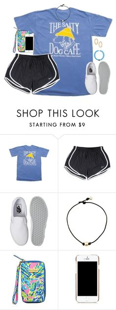 """""""back at it again with them white vans.."""" by kaley-ii ❤ liked on Polyvore featuring NIKE, Vans, Moschino and Kendra Scott"""