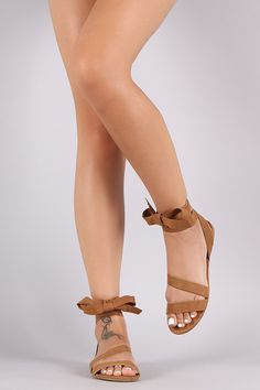 Bamboo Suede Ribbon Wrap Flat Sandal