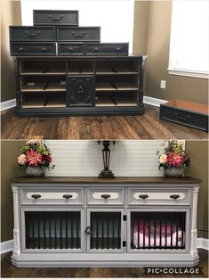 Pet/Dog Kennel hubby and I made from an old dresser. Wanted a nice piece of furn. Pet/Dog Kennel hubby and I made from an old dresser. Wanted a nice piece of furn… Pet/Dog Kennel Custom Dog Kennel, Diy Dog Kennel, Diy Dog Bed, Kennel Ideas, Tv Stand Dog Kennel, Indoor Dog Kennels, Dog Kennel Designs, Chain Link Dog Kennel, Dog Crate Furniture